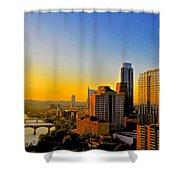 Golden Sunset In Austin Texas Shower Curtain by Kristina Deane