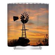 Golden Windmill Silhouette Shower Curtain by Robert D  Brozek