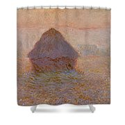 Grainstack  Sun In The Mist Shower Curtain by Claude Monet