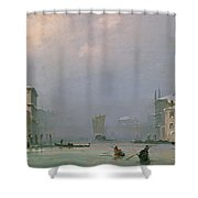 Grand Canal With Snow And Ice Shower Curtain by Ippolito Caffi
