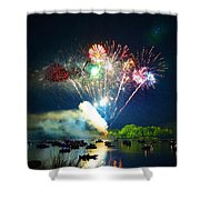 Grand Finale Over The Lake Shower Curtain by Sandi OReilly