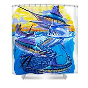 Grand Slam baitball Shower Curtain by Carey Chen