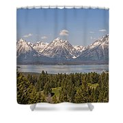 Grand Tetons Over Jackson Lake Panorama Shower Curtain by Brian Harig