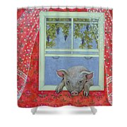 Grapes At The Window Shower Curtain by Ditz