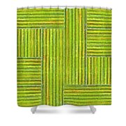 Grassy Green Stripes Shower Curtain by Michelle Calkins