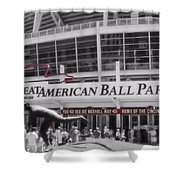Great American Ball Park And The Cincinnati Reds Shower Curtain by Dan Sproul