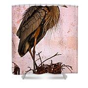 Great Blue Heron Shower Curtain by Debra and Dave Vanderlaan