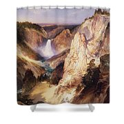 Great Falls Of Yellowstone Shower Curtain by Thomas Moran