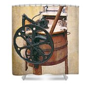 Great-grandmother's Washing Machine Shower Curtain by Daniel Hagerman