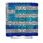Greek Flag - Greece Stone Rock'd Art By Sharon Cummings Shower Curtain by Sharon Cummings