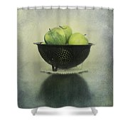 Green Apples In An Old Enamel Colander Shower Curtain by Priska Wettstein