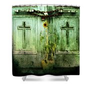 Green Doors Shower Curtain by Gothicolors Donna