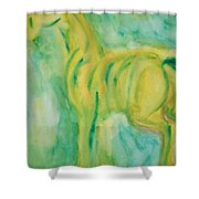Green Hope Shower Curtain by Hilde Widerberg