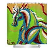 Green Horse Shower Curtain by Genevieve Esson