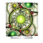 Green Jewelry Shower Curtain by Anastasiya Malakhova