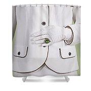 Green Ring Shower Curtain by Joana Kruse