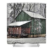Green Tobacco Barn Shower Curtain by Benanne Stiens