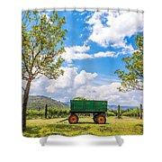 Green Wagon And Vineyard Shower Curtain by Jess Kraft
