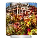 Greenhouse - The Greenhouse And The Garden Shower Curtain by Mike Savad