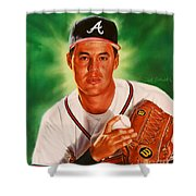 Greg Maddux Shower Curtain by Dick Bobnick
