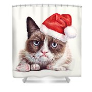 Grumpy Cat as Santa Shower Curtain by Olga Shvartsur