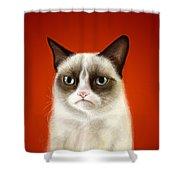 Grumpy Cat Shower Curtain by Olga Shvartsur