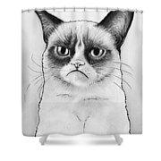 Grumpy Cat Portrait Shower Curtain by Olga Shvartsur