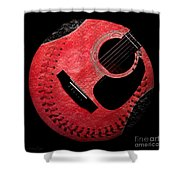 Guitar Strawberry Baseball Shower Curtain by Andee Design