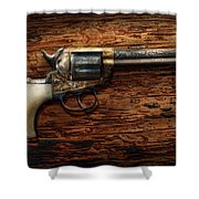 Gun - Police - True Grit Shower Curtain by Mike Savad