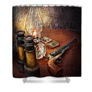 Gun - The Adventures Code  Shower Curtain by Mike Savad