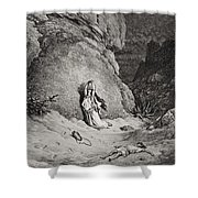 Hagar And Ishmael In The Desert Shower Curtain by Gustave Dore