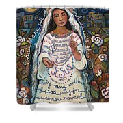 Hail Mary Shower Curtain by Jen Norton