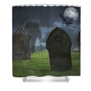 Halloween Graveyard Shower Curtain by Amanda And Christopher Elwell