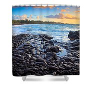 Hana Bay Sunrise Shower Curtain by Inge Johnsson
