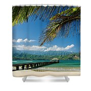 Hanalei Pier And Beach Shower Curtain by M Swiet Productions