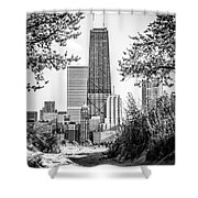 Hancock Building Through Trees Black and White Photo Shower Curtain by Paul Velgos