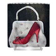 Handbag With Stiletto Shower Curtain by Joana Kruse