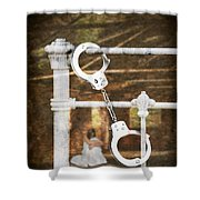 Handcuffs On Bed Shower Curtain by Amanda Elwell
