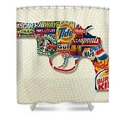 Handgun Logos Shower Curtain by Gary Grayson