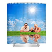 Happy Family Together On Grass Shower Curtain by Michal Bednarek