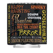 Happy Haunting Shower Curtain by Debbie DeWitt