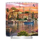 Harbour Sunset Shower Curtain by Dominic Davison