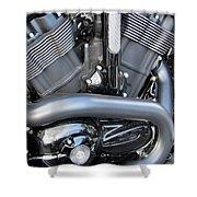 Harley Close-up Engine Close-up 1 Shower Curtain by Anita Burgermeister