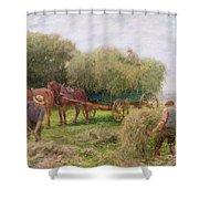 Haymaking Shower Curtain by Arthur Hopkins