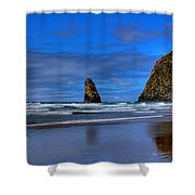 Haystack Rock And The Needles IIi Shower Curtain by David Patterson