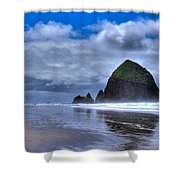 Haystack Rock IVa Shower Curtain by David Patterson