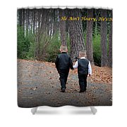 He Aint Heavy/ Hes My Brother Shower Curtain by Kathy  White