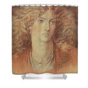 Head Of A Woman Called Ruth Herbert Shower Curtain by Dante Charles Gabriel Rossetti