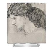 Head Of A Woman Shower Curtain by Dante Gabriel Charles Rossetti
