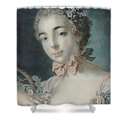 Head Of Flora Shower Curtain by Francois Boucher